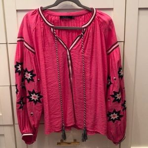 Ark and Co. pink embroidered blouse.